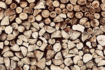Chopped Photograph - Pile Of Wood Logs Background by Michal Bednarek