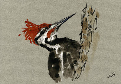 Woodpecker Painting - Pileated Woodpecker by Juan  Bosco