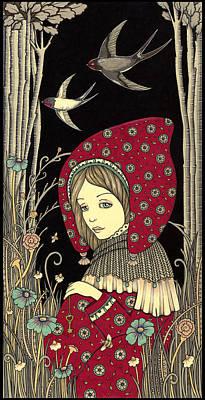 Swallow Drawing - Pilgrim by Anita Inverarity