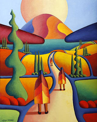 Mystical Landscape Painting - Pilgrimage To The Sacred Mountain With 3 Figures  by Alan Kenny