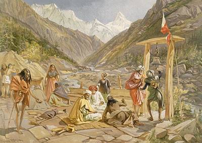 Mountainous Drawing - Pilgrims At Gangootree, From India by William 'Crimea' Simpson