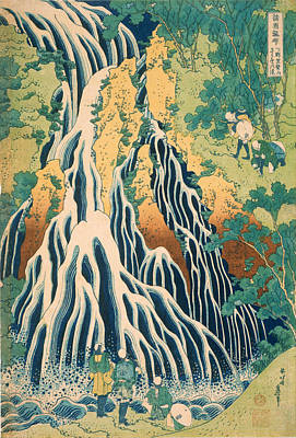 Printing Drawing - Pilgrims At Kirifuri Waterfall On Mount Kurokami In Shimotsuke Province by Katsushika Hokusai