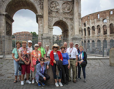 Photograph - Pilgrims In Front Of Arch Of Constantine - June 3 by Dwight Theall