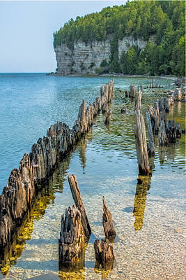 Pilings On Lake Michigan Art Print by Paul Freidlund