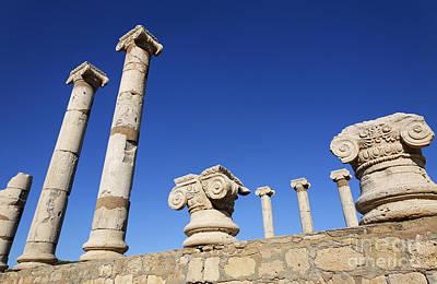 Pillars At The Old Forum At Leptis Magna In Libya Art Print