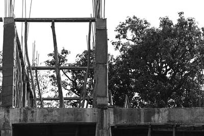 Pillars Of An Under Construction Building Covered By Sacks Art Print by Ashish Agarwal