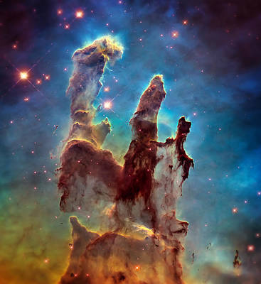 Hubble Telescope Photograph - Pillars Of Creation In High Definition - Eagle Nebula by Jennifer Rondinelli Reilly - Fine Art Photography