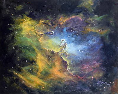 Eagle Nebula Painting - Pillars Of Creation by Marie Green