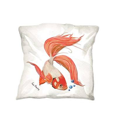 Painting - Pillow Beta Fish by Anne Beverley-Stamps