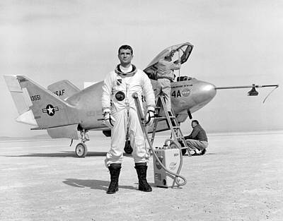 Pilot Major Cecil Powell And The X-24a Art Print by Gary Bodnar