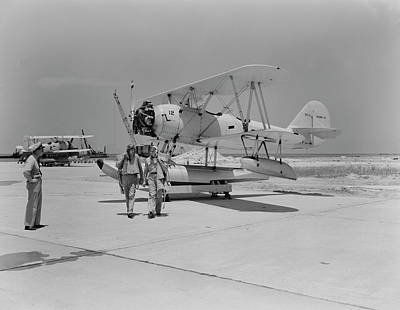 Naval Aircraft Photograph - Pilots Walking Away From Their N3n by Stocktrek Images