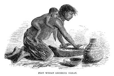 Pottery Painting - Pima Grinding Wheat, 1864 by Granger
