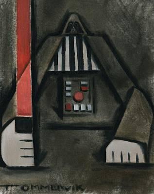 Darth Vader Painting - Pin Head Vader Art Print by Tommervik