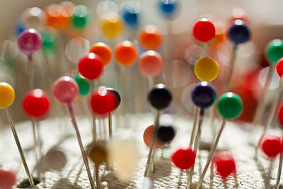 Photograph - Pin Heads - Sewing - Pins by Marie Jamieson