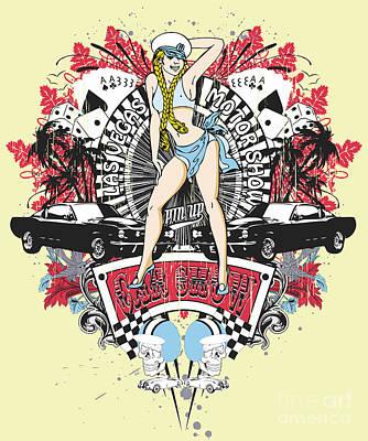 Lowrider Digital Art - Pin Up Girl - Car Show No.01 by Fatline