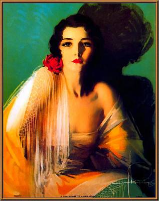 Sex Symbol Digital Art - Pin Up Girl Green Background by Rolf Armstrong