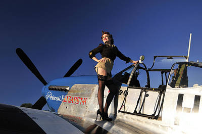 Pin-up Girl Standing On The Wing Art Print