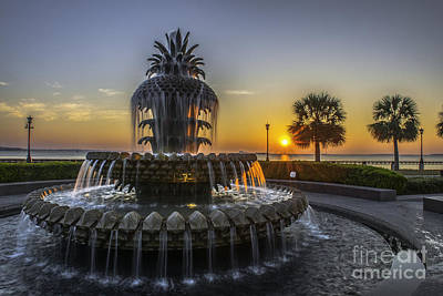 Photograph - Pinapple Fountain Charleston Sc Sunrise by Dale Powell