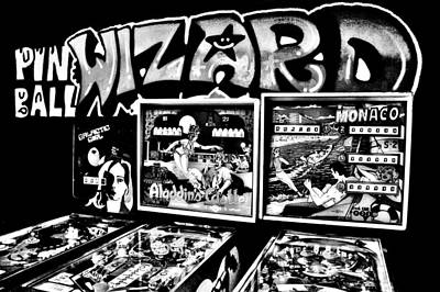 Photograph - Pinball Wizard Black And White by Benjamin Yeager