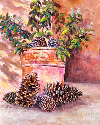Painting - Pine Cone Still Life by Lou Ann Bagnall