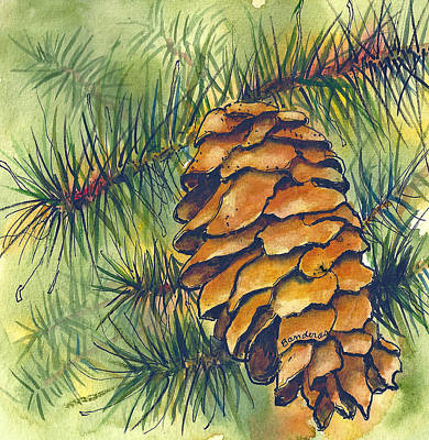 Art Print featuring the painting Pine Cone by Terry Banderas