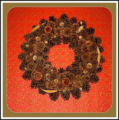 Digital Art - Pine Cone Wreath by Holley Jacobs