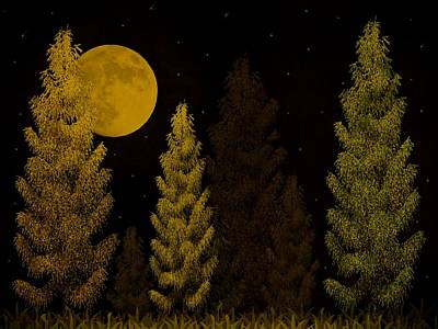 Pine Needle Digital Art - Pine Forest Moon by David Dehner