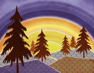 Digital Art - Pine Forest Sunset by Shawna Rowe