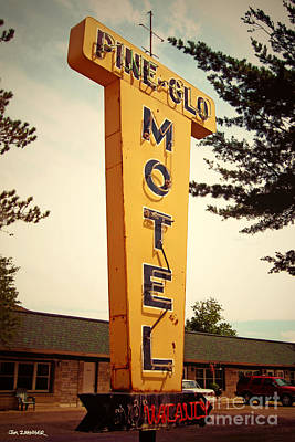 Hotel Digital Art - Pine Glo Motel by Jim Zahniser