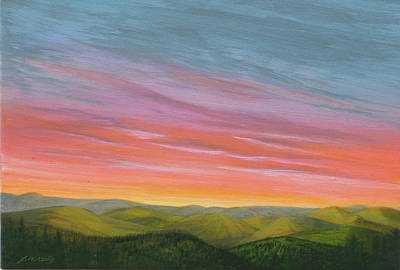 Prairie Sunset Painting - Pine Ridge Spring Sunset by J W Kelly