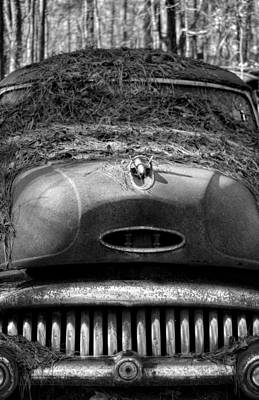 Pine Needles Photograph - Pine Straw On Buick In Black And White by Greg Mimbs