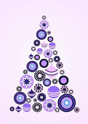 Digital Art - Pine Tree Ornaments - Purple by Anastasiya Malakhova