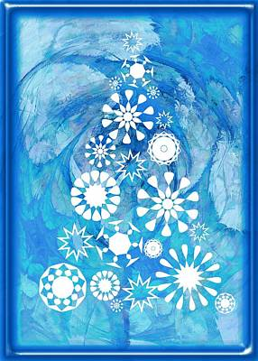 Pine Tree Snowflakes - Baby Blue Print by Anastasiya Malakhova