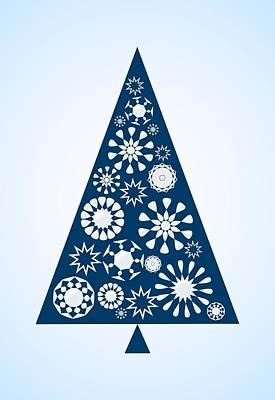 Pine Tree Snowflakes - Blue Art Print