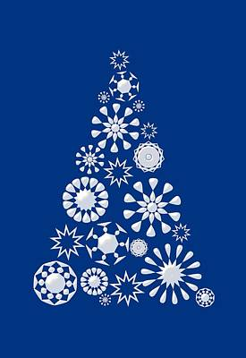 Shine Digital Art - Pine Tree Snowflakes - Dark Blue by Anastasiya Malakhova