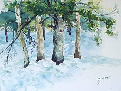 Art Print featuring the painting Pine Trees And Snow by Joy Nichols
