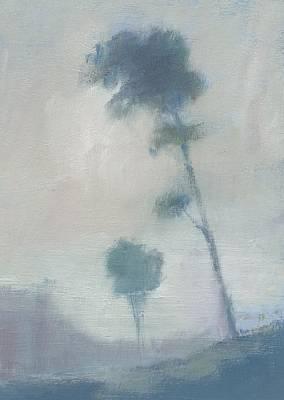 Pine Trees Through The Twilight Mist Art Print by Alan Daysh