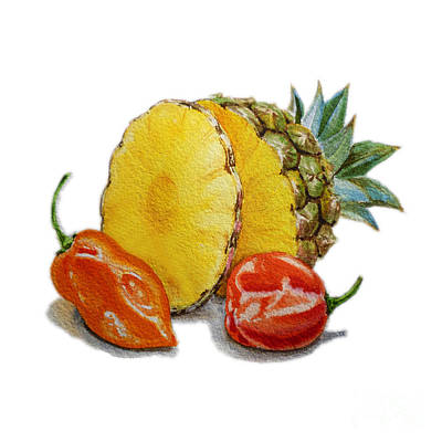 Pineapple And Habanero Peppers  Art Print by Irina Sztukowski