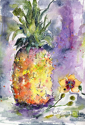 Pineapple And Orchids Art Print