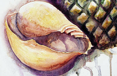 Painting - Pineapple And Shell by Ashley Kujan