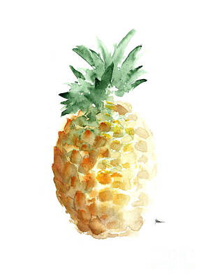 Fruits Mixed Media - Pineapple Art Print Watercolor Painting by Joanna Szmerdt