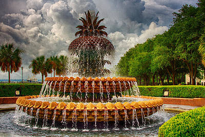 Photograph - Pineapple Fountain Charleston by Bill Barber