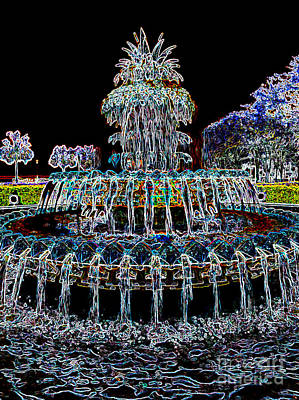 Photograph - Pineapple Fountain - Neon Night by Carol Groenen