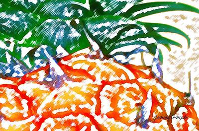 Pineapple Digital Art - Prickly Pineapple by James Temple