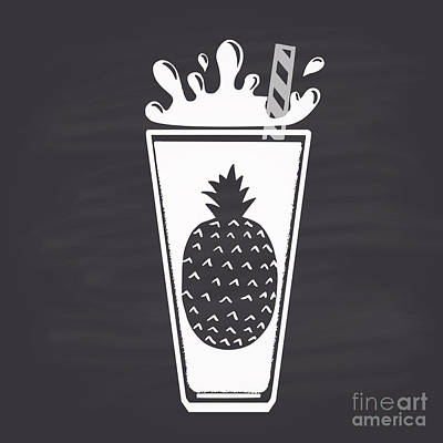 Food And Beverage Digital Art - Pineapple Juice Drawn In Chalk In A by Anat om