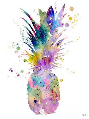 Tropical Fruit Painting - Pineapple by Watercolor Girl