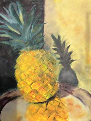 Painting - Pineapple On A Silver Tray by Karen Carmean