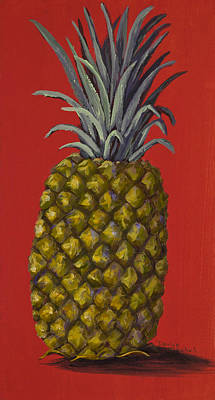 Pineapple On Red Art Print