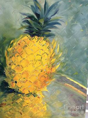 Painting - Pineapple On Soft Green by Karen Carmean