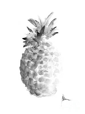 Fruits Mixed Media - Pineapple Painting Watercolor Art Print by Joanna Szmerdt